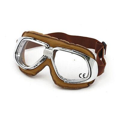 Bandit Classic Goggle, klare Linse, Motorradbrille, Leder, braun, für Jethelme