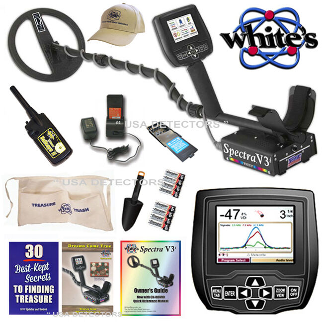 Whites spectra v3i metal detector with bullseye ll, pouch di.