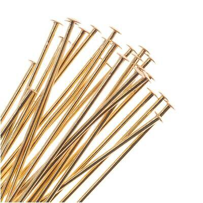 - 22K Gold Plated Head Pins - 22 Gauge, 1 Inch (50)