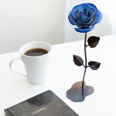 Personalized Gift Wrought Iron Blue Metal Rose - 6th Anniversary Gift for (Blue Metal Rose)