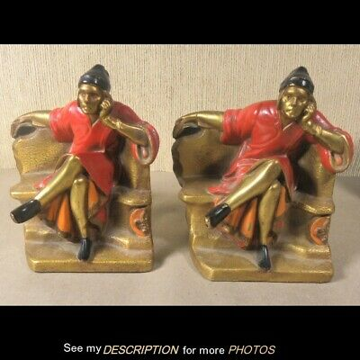 Antique Pair Signed K & O Brass Bookends Red Robed Monk