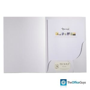 Tecno Papers Presentation Folders A4 White Gloss Pk50 (PFOLD50)
