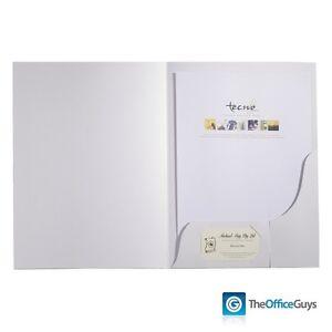 Tecno Papers Presentation Folders A4 White Gloss Pk50 (PFOLD50)