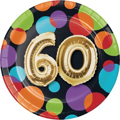 60th Birthday Party Plates (Gold Balloon 60th Birthday 7 Inch Paper Plates 60th Birthday Party)
