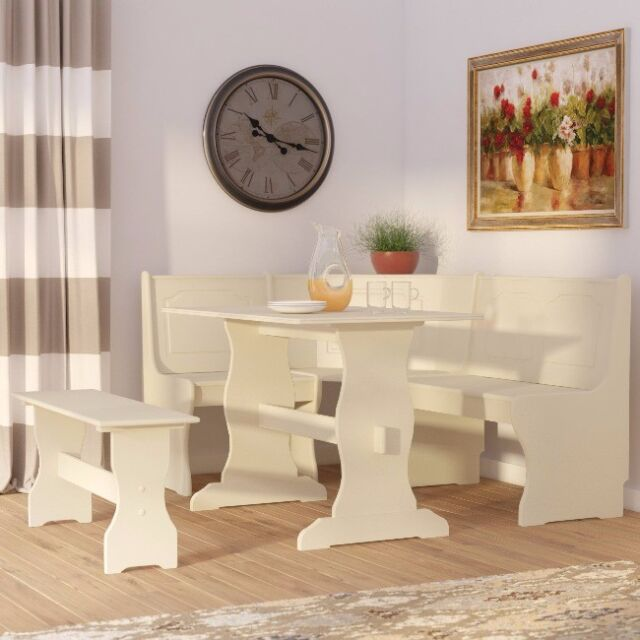Breakfast Nook Farmhouse Dining Set Kitchen Small Table Corner Bench 3 Piece