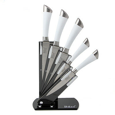 5Pcs Stainless Steel Kitchen Knife SET Cutlery White Handled with a Knife Holder