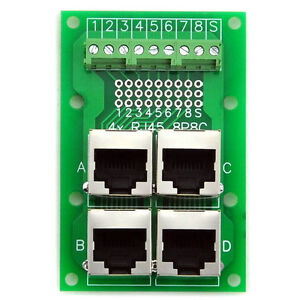 RJ45-8P8C-Jack-4-Way-Buss-Breakout-Board-Terminal-Block-Connector