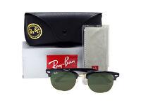 BRAND NEW IN BOX - Medium Size Rayban Clubmaster 3016 Wayfarer 2140 Black Green Lens Sunglasses