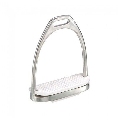 """New English SS Fillis Iron Stirrups with White rubber pads5.5/"""" wide base"""