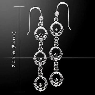 (Celtic Triple Claddagh .925 Sterling Silver Earrings by Peter Stone Jewelry)