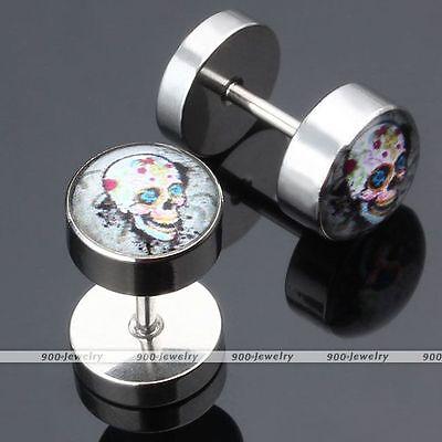 Sugar Skull Earrings (Pair Stainless Steel Sugar Skull Flower Fake 0G Cheater Ear Stud Earlet)