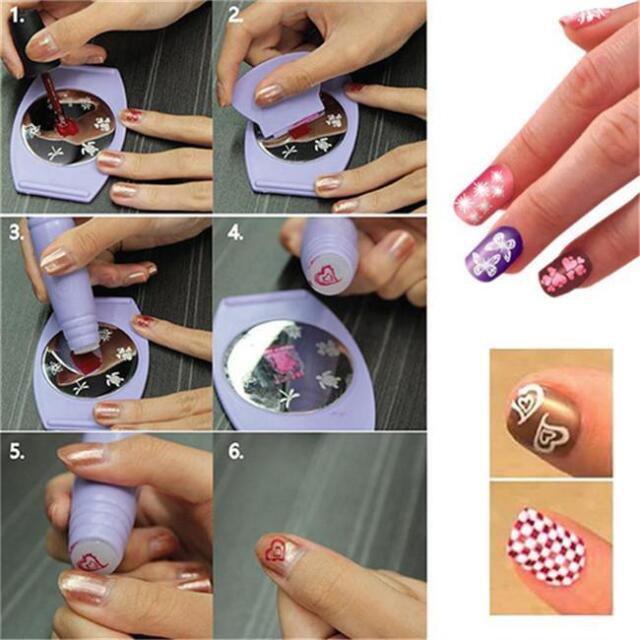 1 Set 8pcs Nail Art Stencil Tool Kit Stamper Design Stamping ...