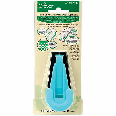 "Clover Fusible Bias Tape Maker - Blue 25mm (1"") quilting, applique, sewing"