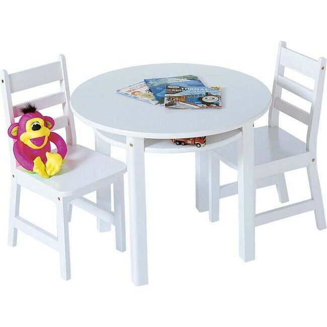 Lipper 524W Childrens Round Table Chair Set White