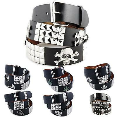 (3-Row Metal Pyramid/Image Studded Leather Belt Unisex Womens Punk Rock Biker Emo)
