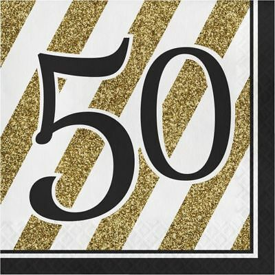 Black and Gold 50th Birthday Lunch Napkins Fifty Birthday Party Decoration