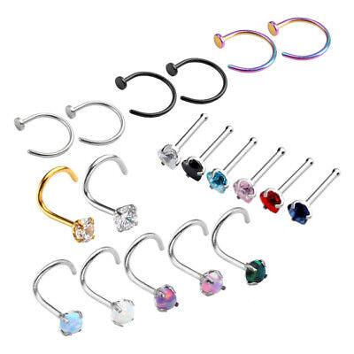 2 Stes 316L Screw CZ Cubic Zirconia Screw Open Hoop Nose Ring Bar Studs Piercing