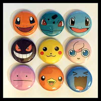 "Set of 9 1"" Pokemon Faces Button Pinbacks"