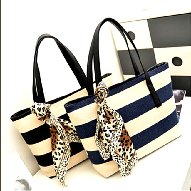 Lady Stripe Casual Tote Bag with scarf