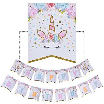 Unicorn Bunting Banner Garland Hanging Flag Prop Baby Shower Party Wall Decor CB