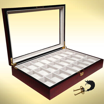 24 Wood Watch Display Jewelry Collector Case Gift Storage Box Cherry 1087c
