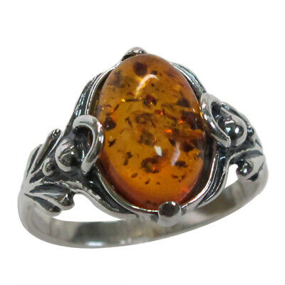 GORGEOUS NATURAL BALTIC AMBER 925 STERLING SILVER RING SIZE 5-10 - Gorgeous Sterling Silver Natural
