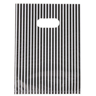 100Pcs Chic Stripe Plastic Carrier Bag Shopping Boutique Store Package Gift Bag ()
