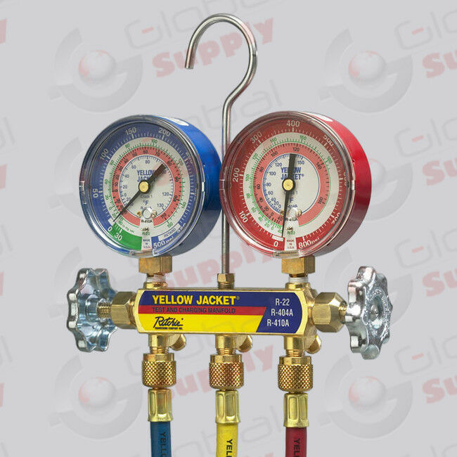 """Yellow Jacket 42004 - Series 41 Manifold, 3-1/8"""" Gauges w/ Hoses, R22/404A/410A"""