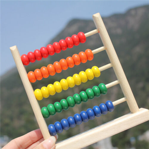 20cm Wooden Kids Bead Abacus Counting Frame Educational Learn Maths Toy #BE