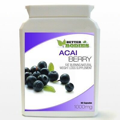 60 Acai Berry Fat Burn Fast Weight Loss Slim Dieting Pills Capsules -