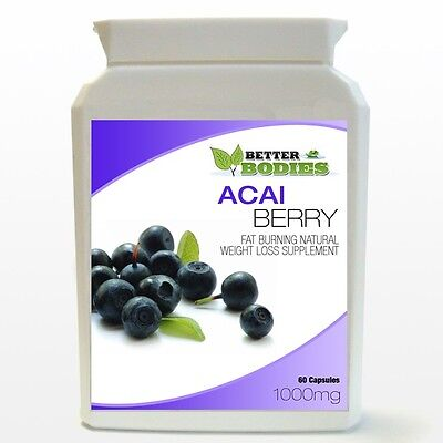 60 Acai Berry Fat Burn Fast Weight Loss Slim Dieting Pills Capsules Bottle