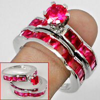PINK RUBY GEMS in 925 SOLID STERLING SILVER  Ring Set  Sz 8.5