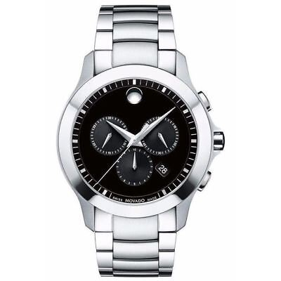 $369.00 - New Movado Masino Chronograph Black Dial Men's Watch 0606885