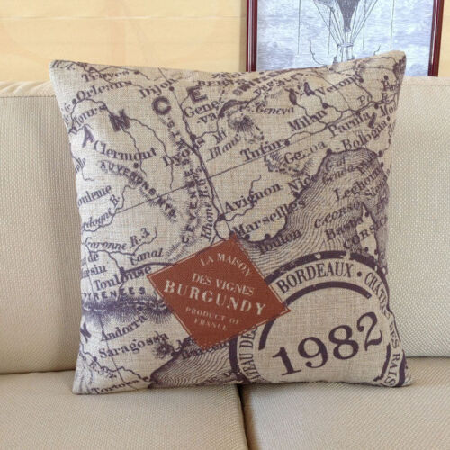 Vintage Cotton Linen Cushion Cover Pillow Case French Map