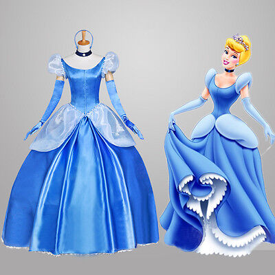 US SHIP! Adult Princess Cinderella Stage Costume Deluxed  Fancy Cosplay Dress ](Cinderella Costume Adults)
