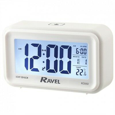 Quartz LCD Touch Sensitive Snooze and Light Features Alarm Clock - White