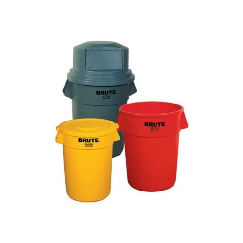 Brute Container Flat Lid, 44 Gallon, Yellow, Each
