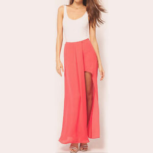 Womens Boho Summer Chiffon Open Side Split Skirt Long Sexy Maxi Skirt S M L