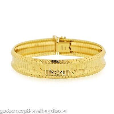 14K GOLD & BZ FLEX OMEGA SOFT CUFF BANGLE BRACELET SZ 7 INCH  ITALIAN 26 GR