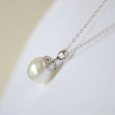 South Sea Pearl and Diamond 14K White Gold Pendant 12mm