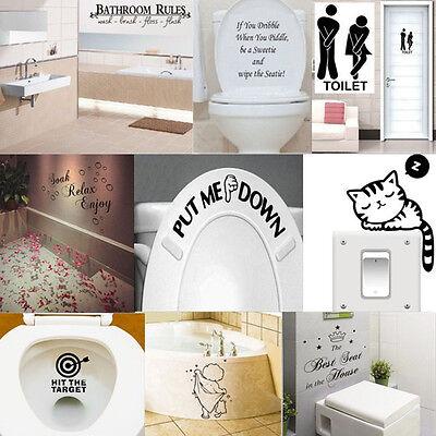 Funny Toilet Bathroom DIY Vinyl Removable Wall Sticker Mural Home Decals Decor (Decor Toilet)