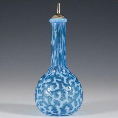 Antique Barber Bottle Hobbs Seaweed Blue Opalescent Glass Excellent 1880s