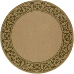 Art Carpet 7 ft. Plymouth Collection Conversing Flat Woven Indoor & Outdoor Round Area Rug, Beige NEW