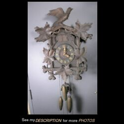 Antique Large Black Walnut German Black Forest Cuckoo Clock 3 Weights 2 Birds