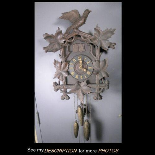 Antique Large Black Walnut German Black Forest Cuckoo Clock 3 Weights 2 Birds