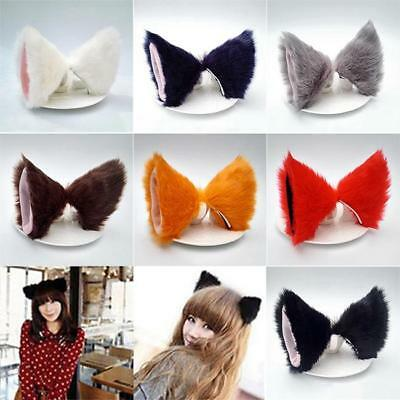 Anime Cosplay Costume Party Long Fur Fox Neko Cat Ear Hair Clip Optional Color D - Fox Ear Costume