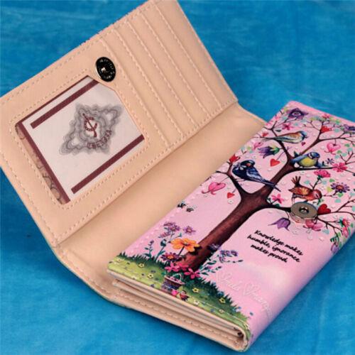 Women Leaves Bifold Wallet Leather Clutch Card Holder Ladies Purse Long Handbags