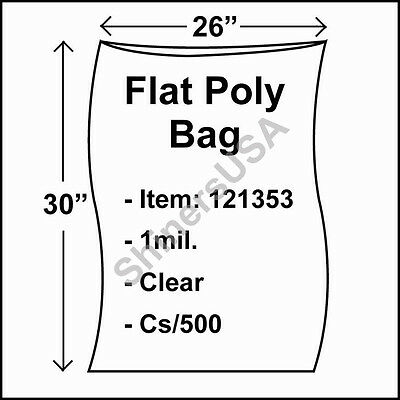 500 1-Mil 26x30 Clear Poly Bag Open Top Lay Flat Packaging 121353