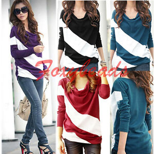 Fashion-Women-Batwing-Top-Dolman-Drap-Loose-T-Shirt-Blouse-Long-Sleeve-Stripe