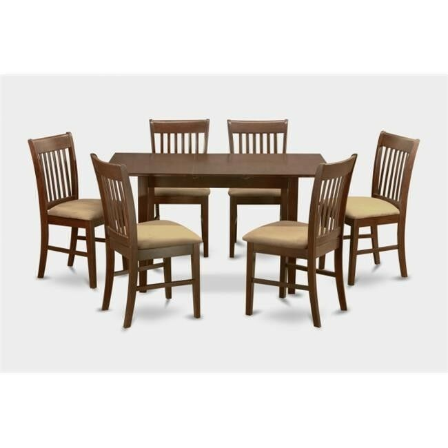 Details about 7 Piece Kitchen Nook Dining Set-Table With Leaf and 6 Dining  Room Chairs